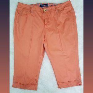 2ed309d8d67 Avenue Orange Cuffed Capri Plus Size Jeans 16